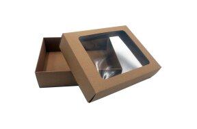 KRAFT PAPER BOX WITH WINDOW 22,5x17x6cm SET/10